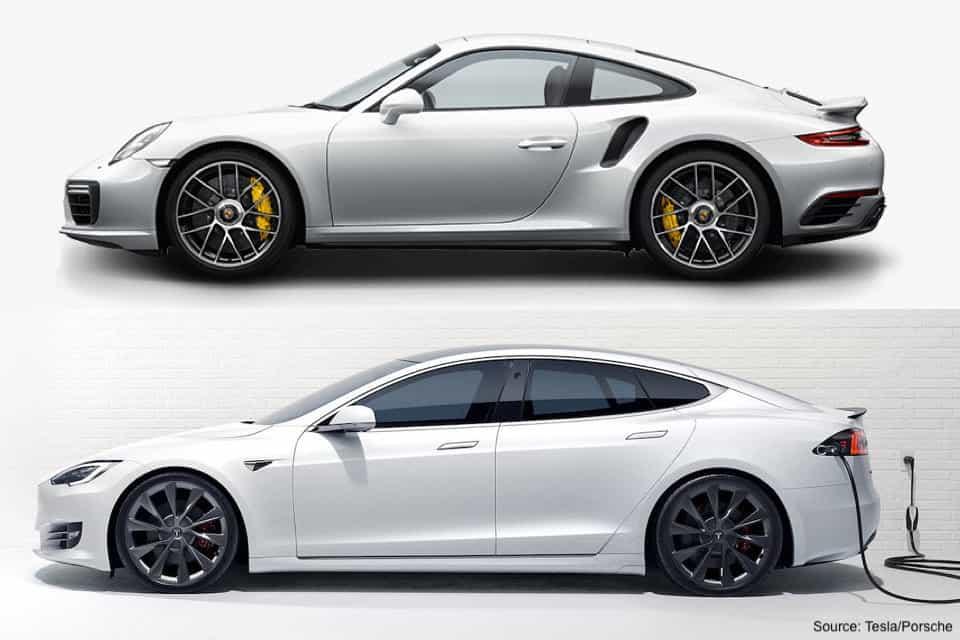 The Tesla S Model Vs. the Classic Porsche 911 Turbo