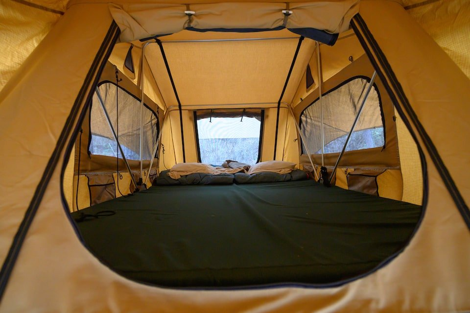 The Ultimate Camping Experience with the Tesla Roof Top Tent inside